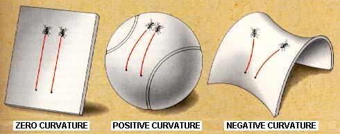 image showing a  sphere which represents a positive curvature surface; a flat piece of  paper representing a zero curvature surface; and a saddle shape  representing a negative curvature surface