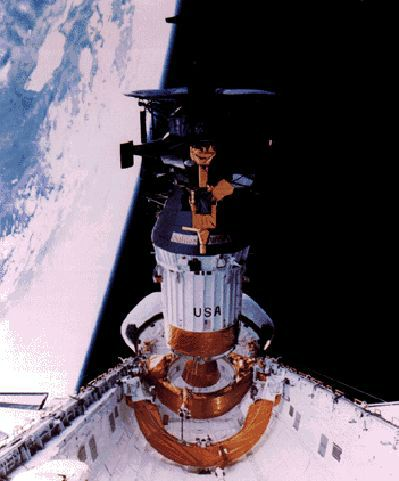 Galileo satellite being deployed during the STS 34 mission