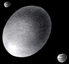 Artist comcept of Haumea and its two moons